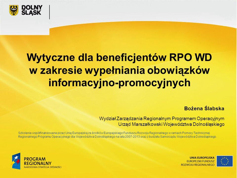Wytyczne dla beneficjentów RPO WD