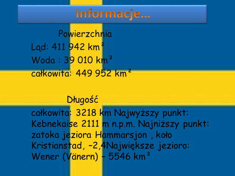 Informacje… Powierzchnia Ląd: 411 942 km² Woda : 39 010 km²