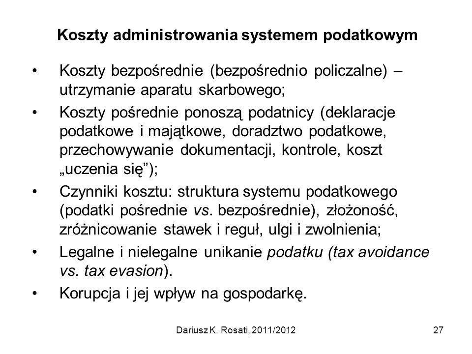 Koszty administrowania systemem podatkowym