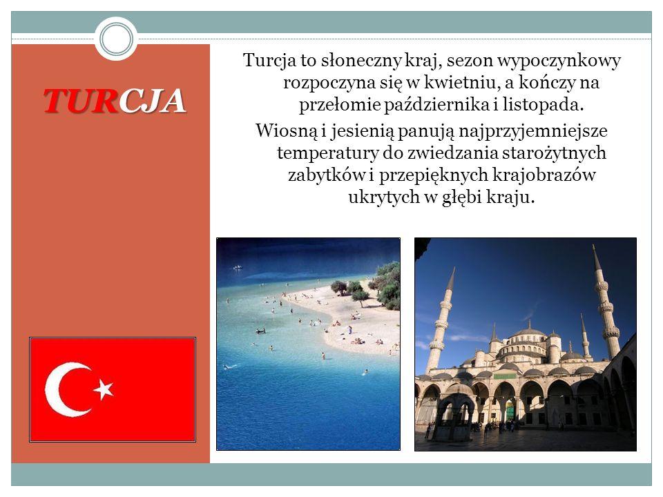 Turcja to słoneczny kraj, sezon wypoczynkowy rozpoczyna się w kwietniu, a kończy na przełomie października i listopada. Wiosną i jesienią panują najprzyjemniejsze temperatury do zwiedzania starożytnych zabytków i przepięknych krajobrazów ukrytych w głębi kraju.