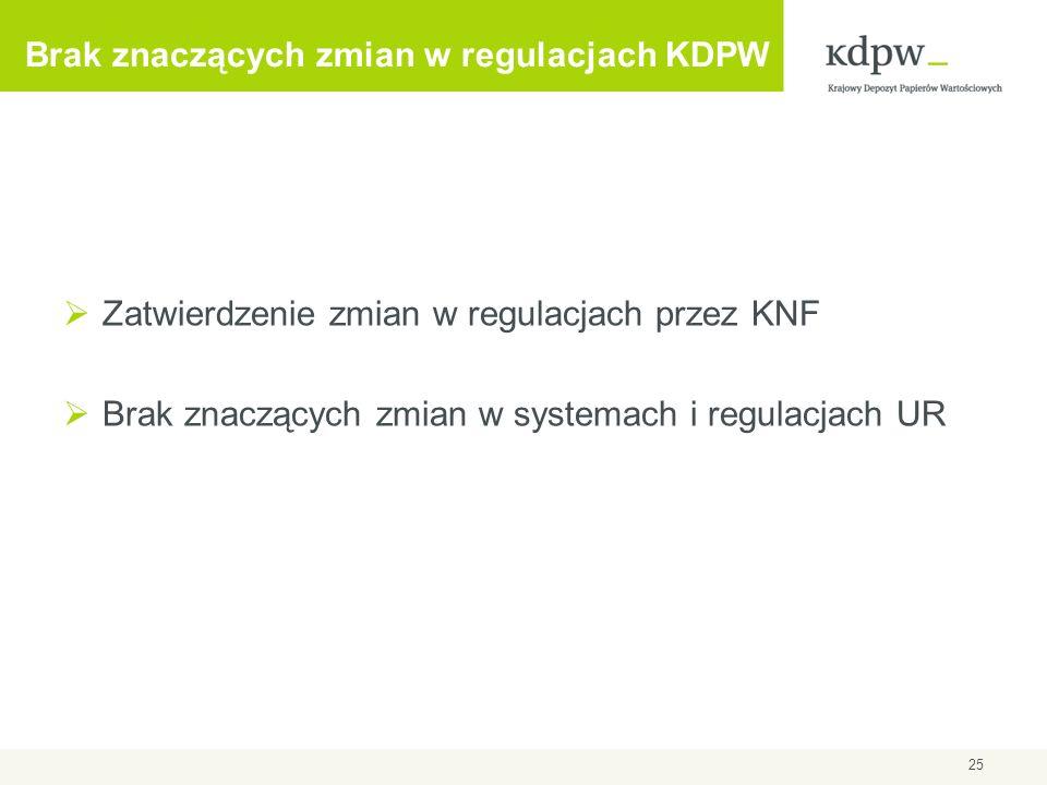 Brak znaczących zmian w regulacjach KDPW