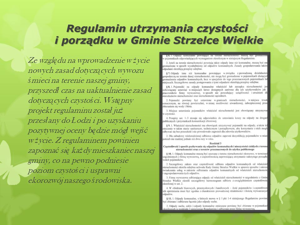 Regulamin utrzymania czystości i porządku w Gminie Strzelce Wielkie