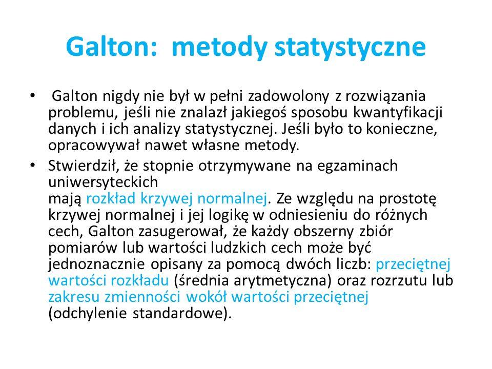 Galton: metody statystyczne