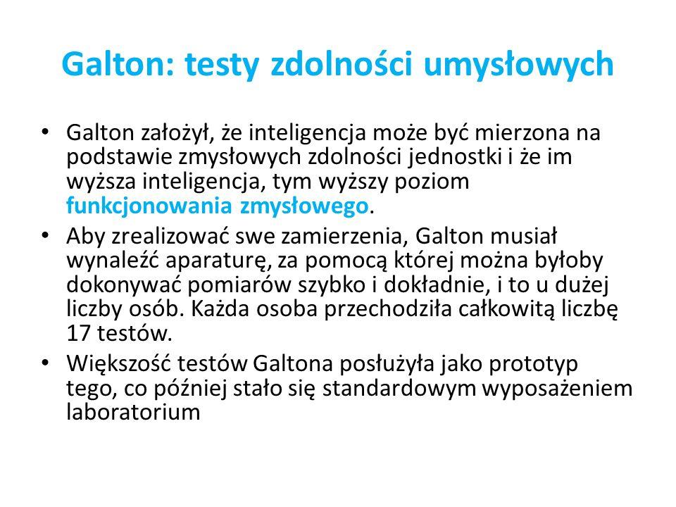 Galton: testy zdolności umysłowych