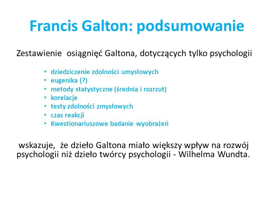 Francis Galton: podsumowanie