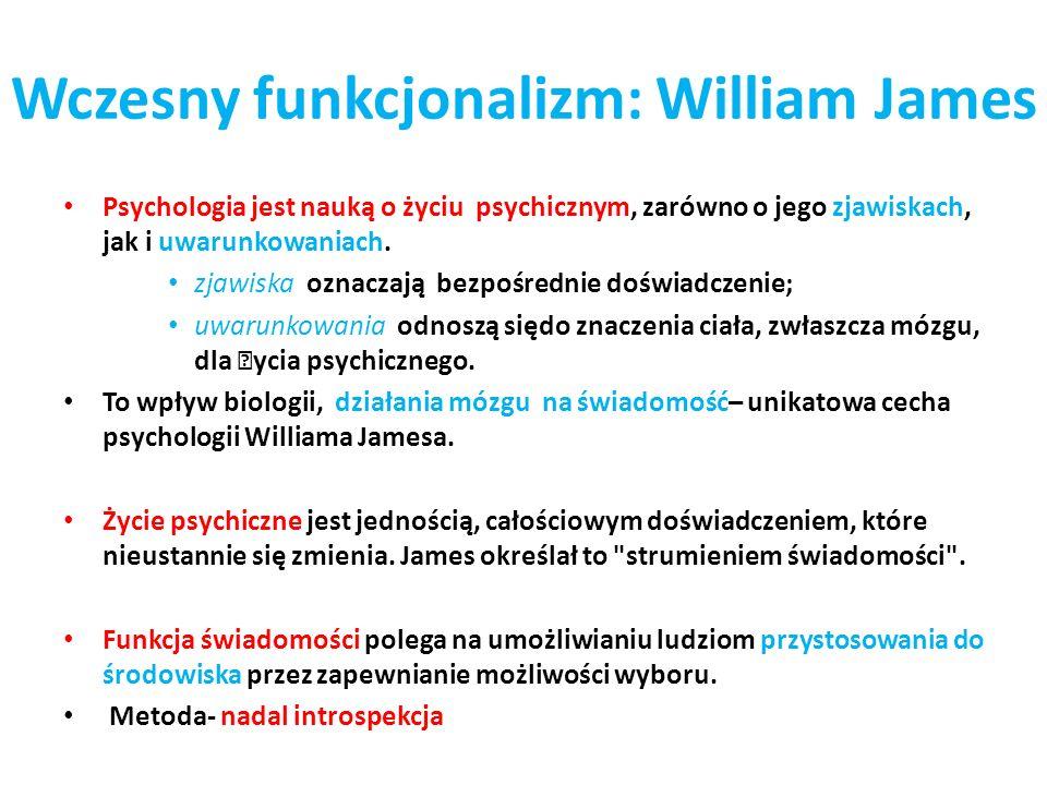 Wczesny funkcjonalizm: William James