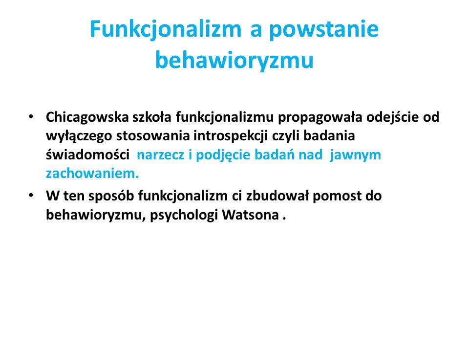 Funkcjonalizm a powstanie behawioryzmu
