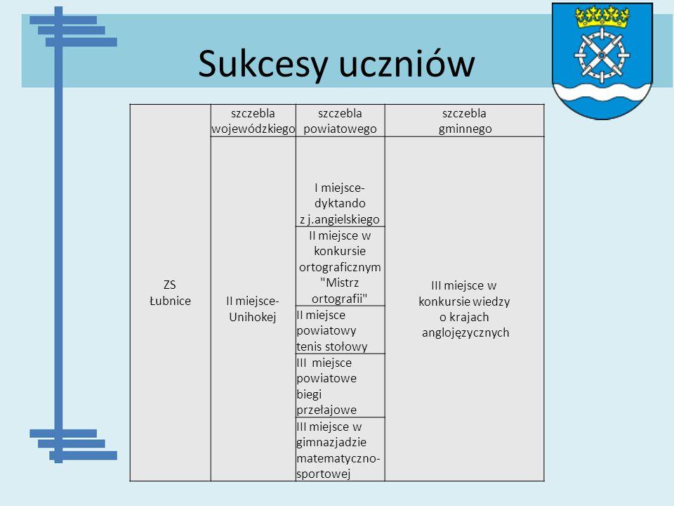 Sukcesy uczniów ZS Łubnice szczebla wojewódzkiego szczebla powiatowego