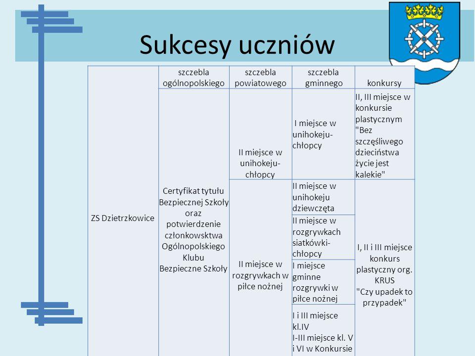 Sukcesy uczniów ZS Dzietrzkowice szczebla ogólnopolskiego