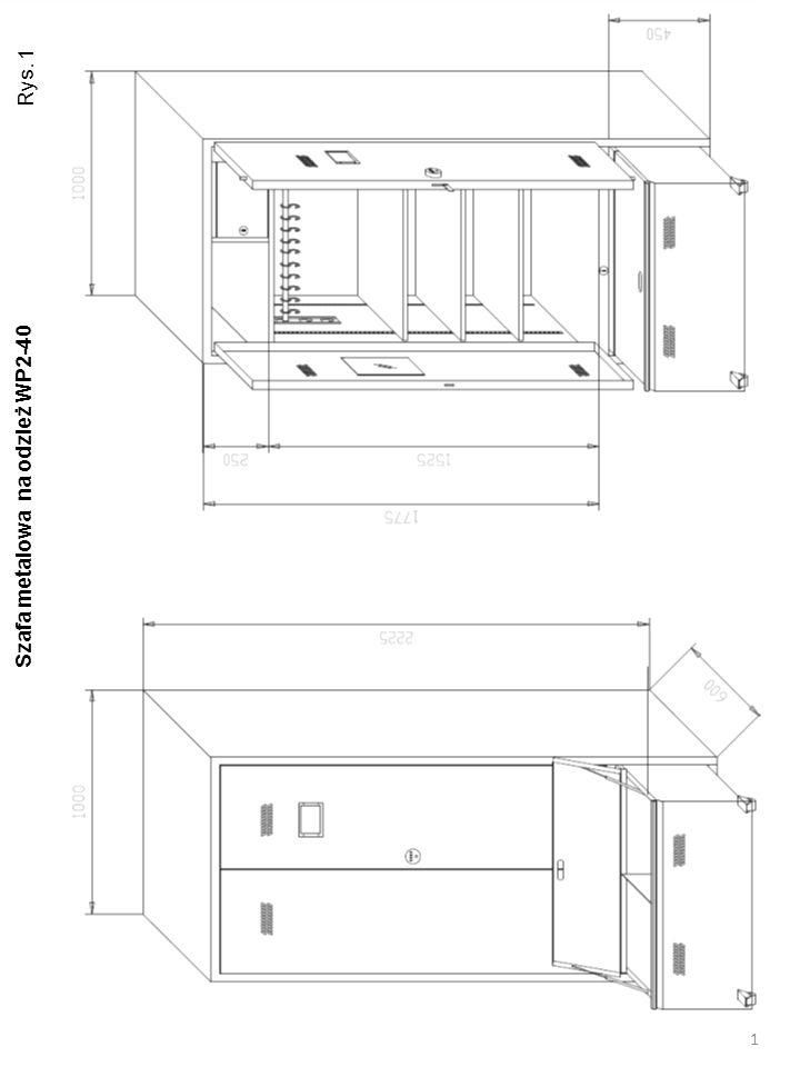 Rys. 1 Szafa metalowa na odzież WP2-40