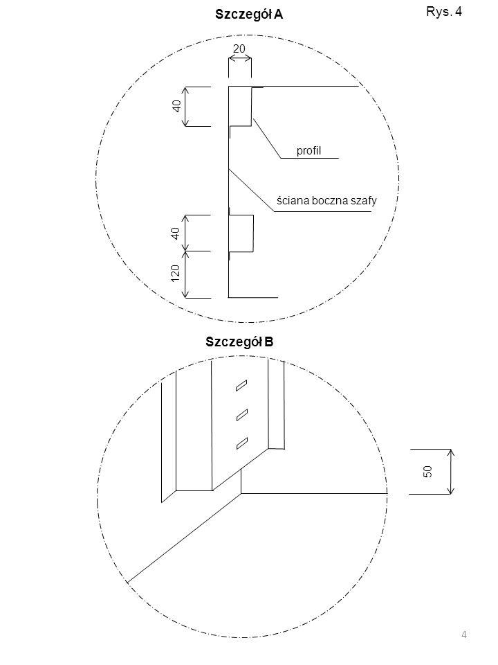 Szczegół A Rys. 4 profil 20 40 ściana boczna szafy 120 Szczegół B 50