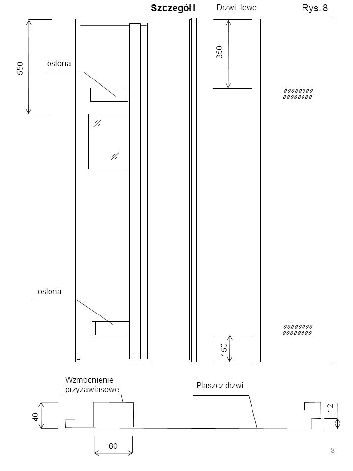 Szczegół I Rys. 8 Drzwi lewe 350 550 osłona osłona 150