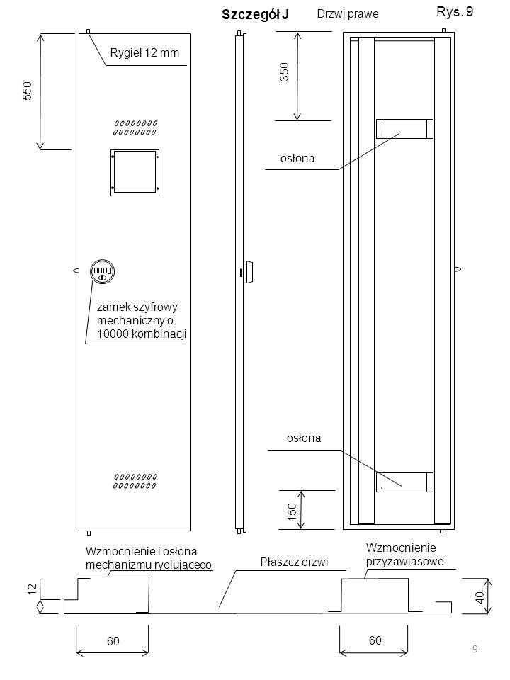 Rys. 9 Szczegół J Drzwi prawe Rygiel 12 mm 350 550 osłona