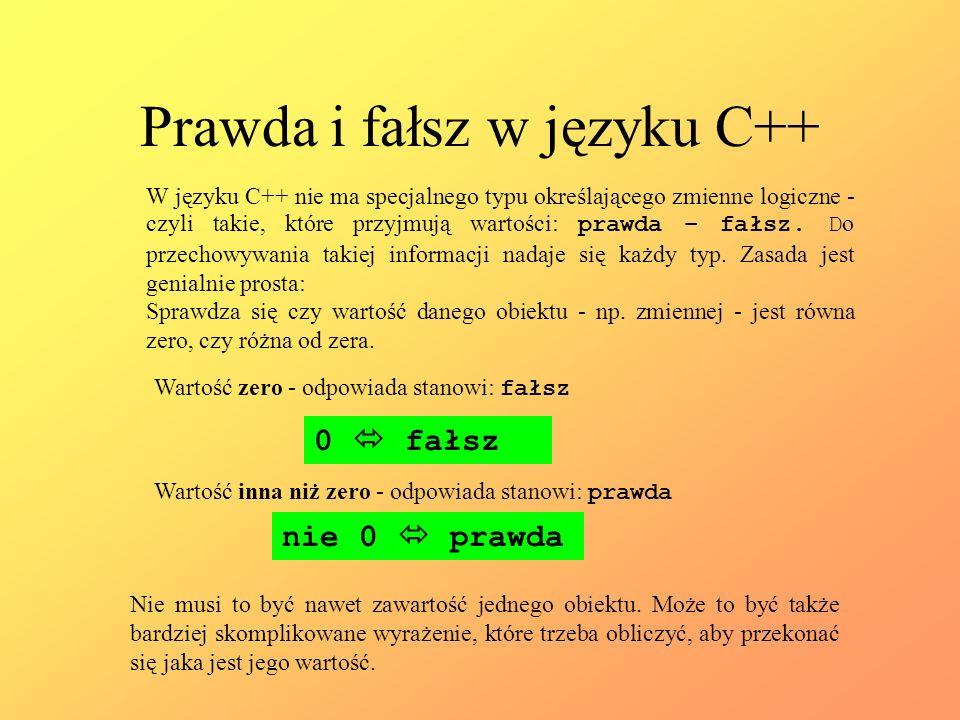 Prawda i fałsz w języku C++