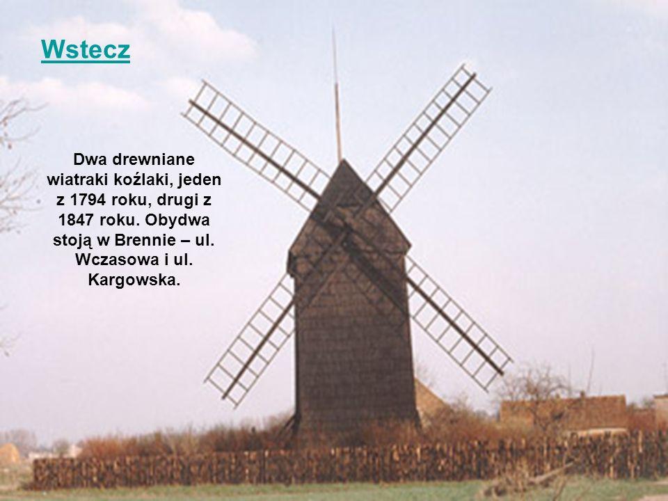 Wstecz Dwa drewniane wiatraki koźlaki, jeden z 1794 roku, drugi z 1847 roku.