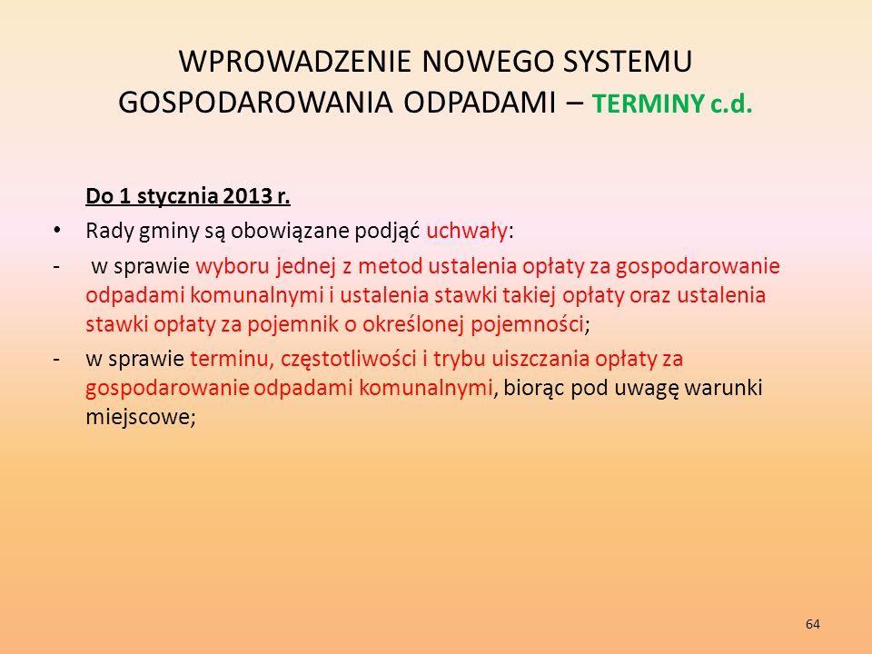 WPROWADZENIE NOWEGO SYSTEMU GOSPODAROWANIA ODPADAMI – TERMINY c.d.
