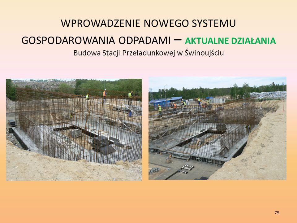 WPROWADZENIE NOWEGO SYSTEMU GOSPODAROWANIA ODPADAMI – AKTUALNE DZIAŁANIA Budowa Stacji Przeładunkowej w Świnoujściu
