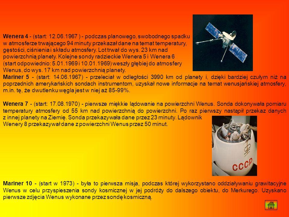 Wenera 4 - (start: 12.06.1967 ) - podczas planowego, swobodnego spadku