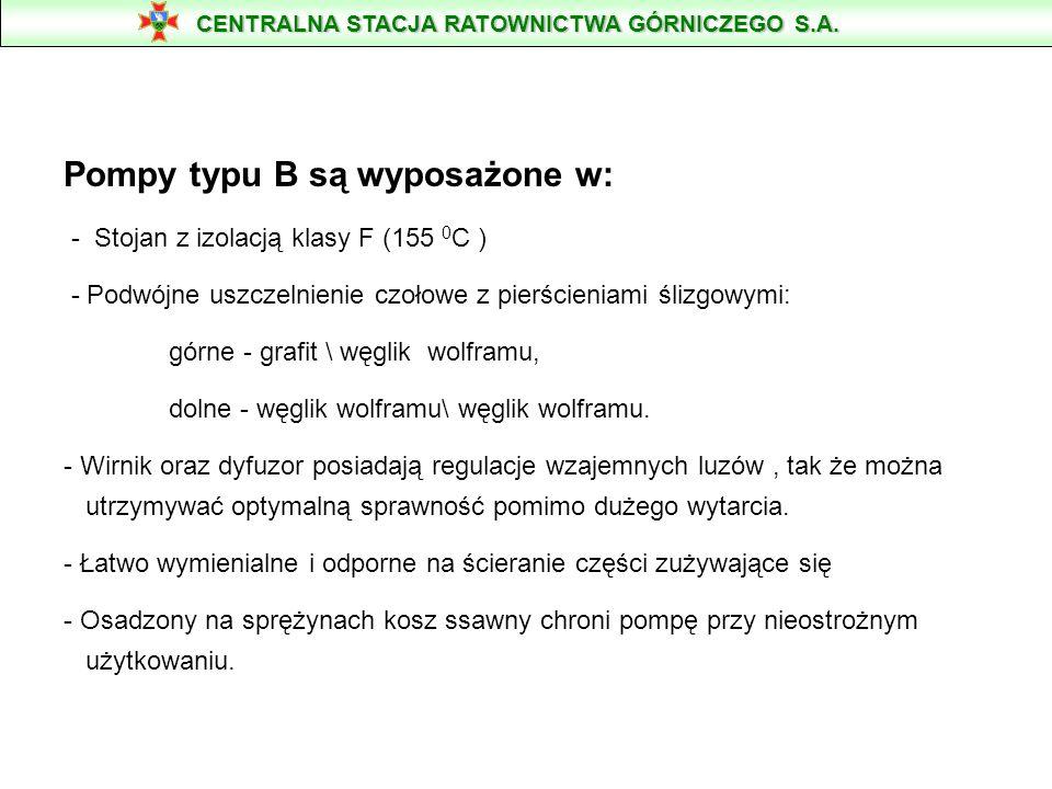 Pompy typu B są wyposażone w: