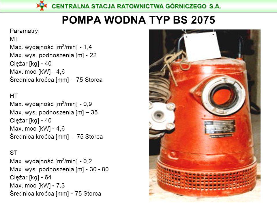 POMPA WODNA TYP BS 2075 CENTRALNA STACJA RATOWNICTWA GÓRNICZEGO S.A.