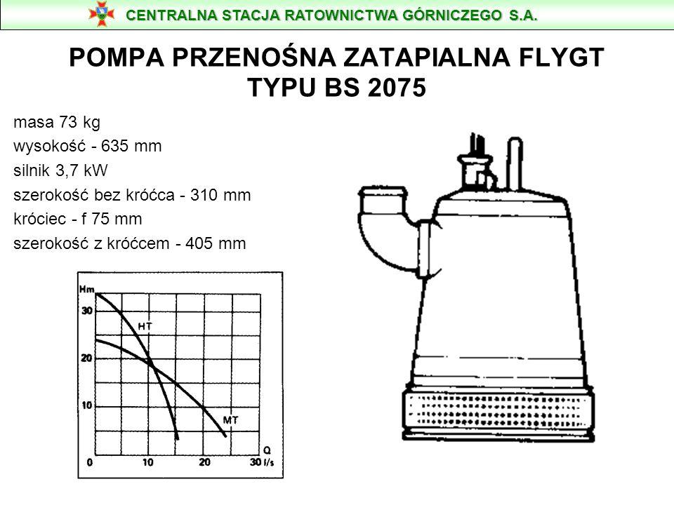POMPA PRZENOŚNA ZATAPIALNA FLYGT TYPU BS 2075