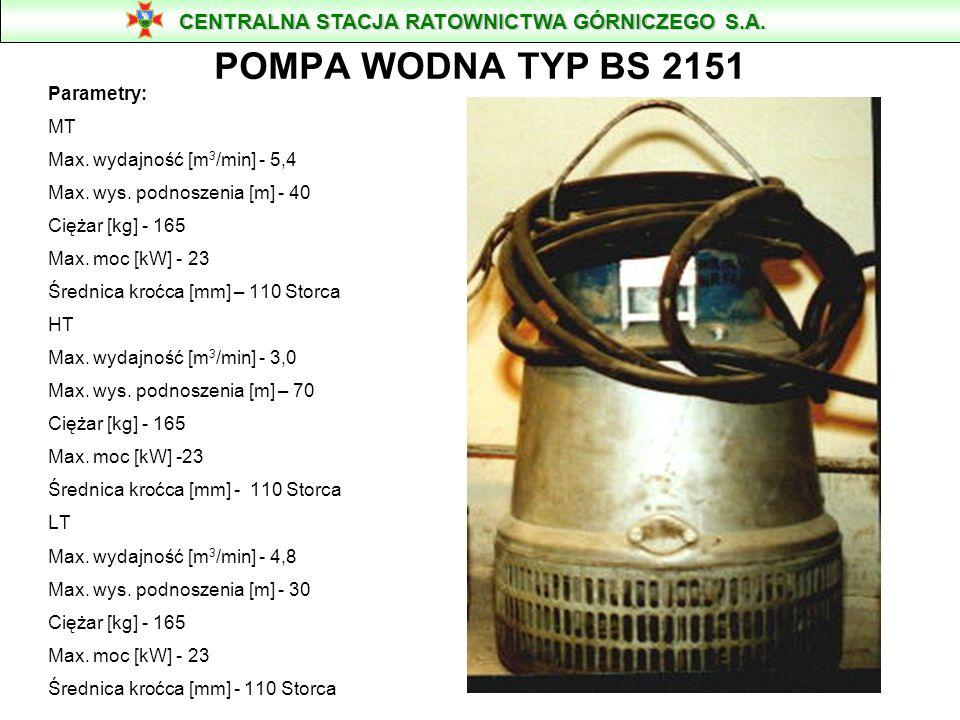 POMPA WODNA TYP BS 2151 CENTRALNA STACJA RATOWNICTWA GÓRNICZEGO S.A.