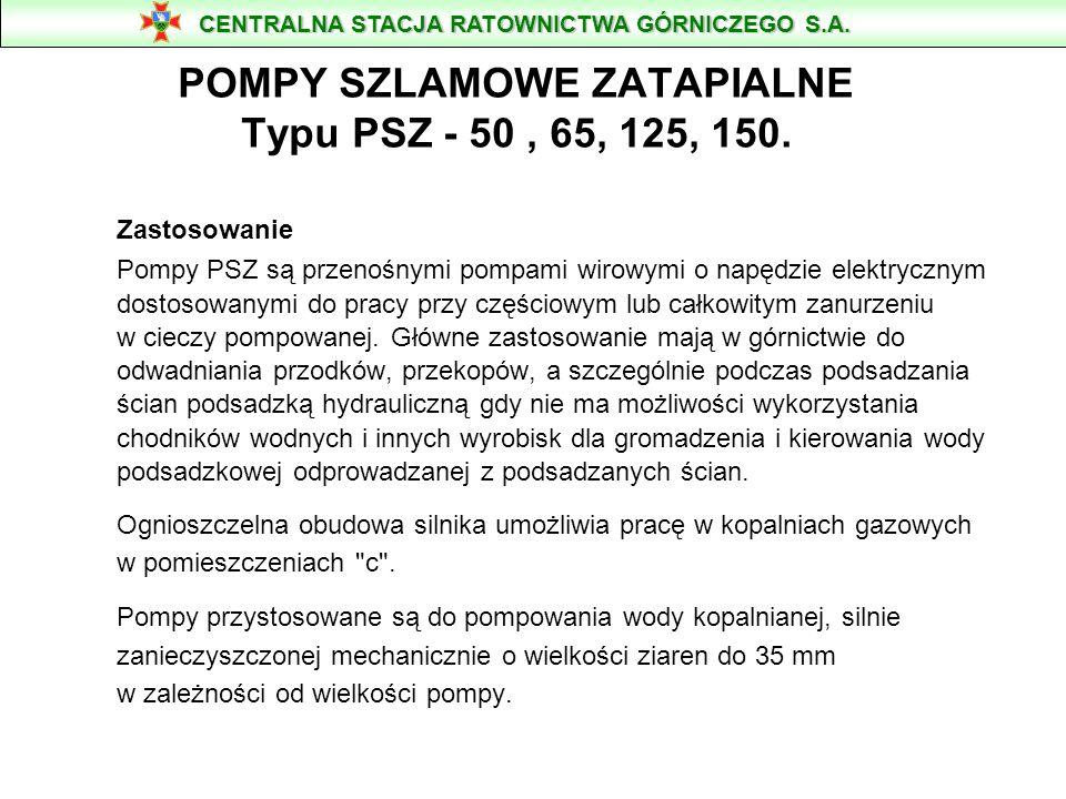 POMPY SZLAMOWE ZATAPIALNE Typu PSZ - 50 , 65, 125, 150.