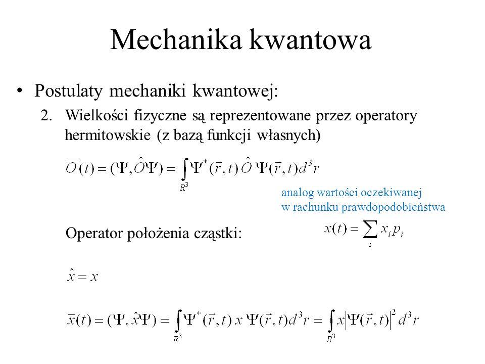 Mechanika kwantowa Postulaty mechaniki kwantowej: