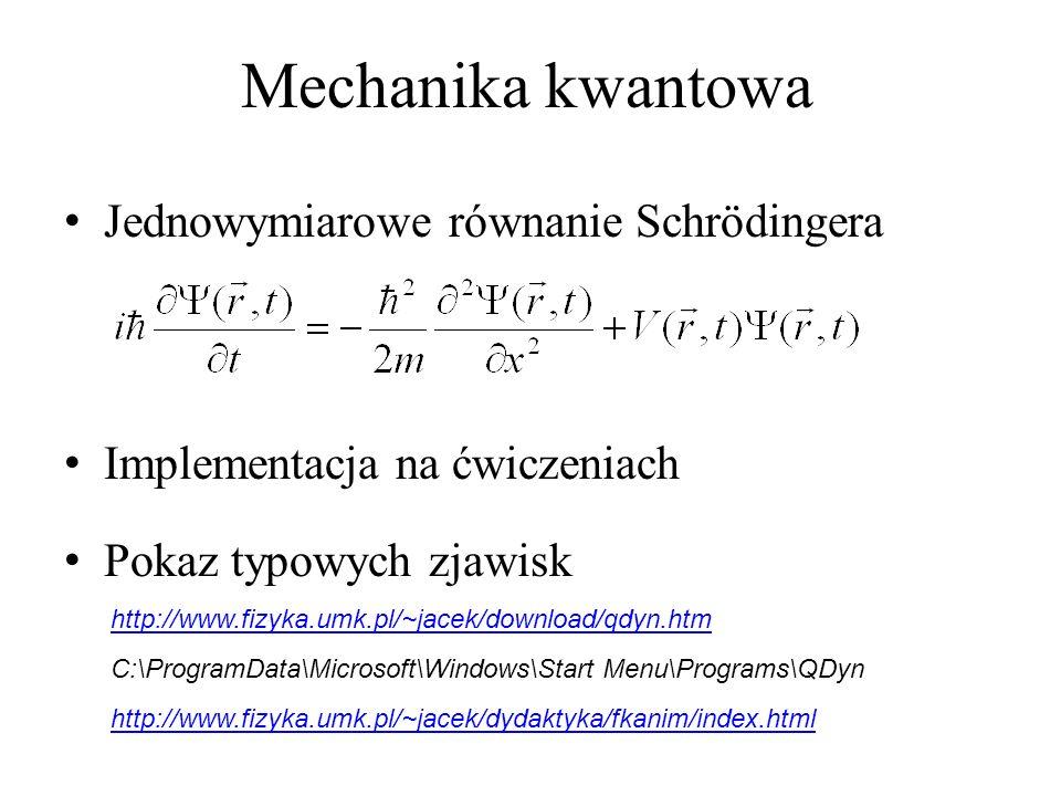 Mechanika kwantowa Jednowymiarowe równanie Schrödingera