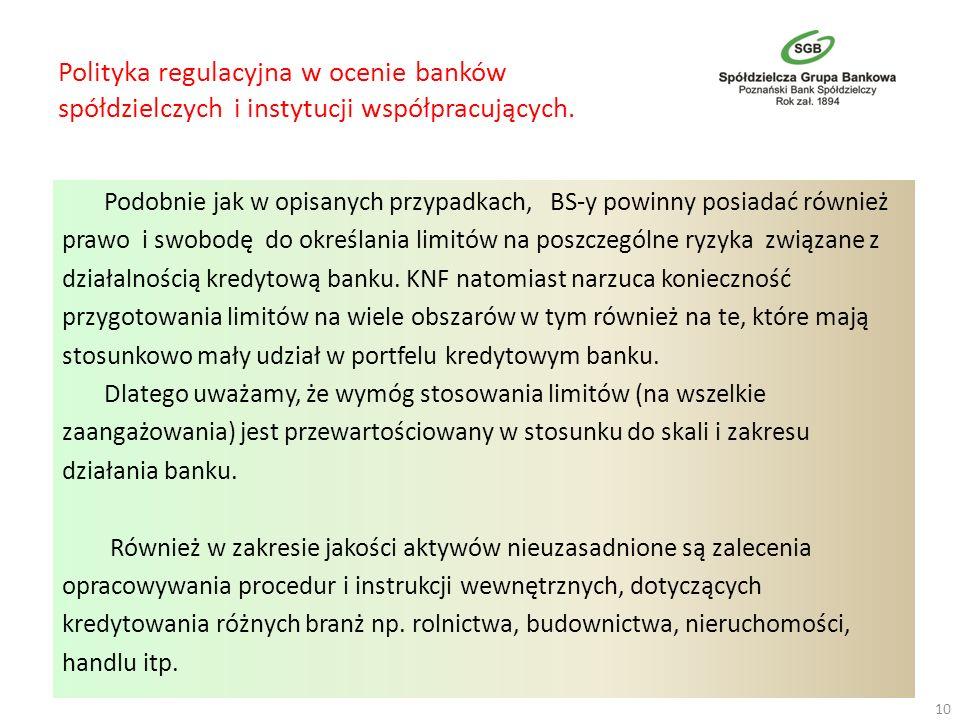 Polityka regulacyjna w ocenie banków spółdzielczych i instytucji współpracujących.