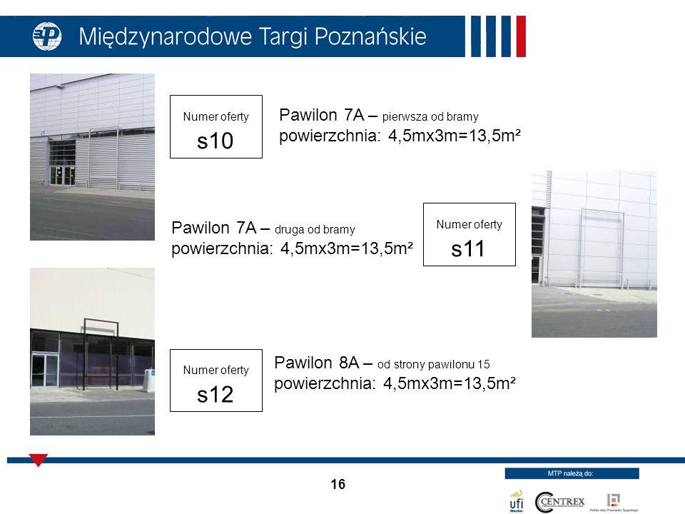 Pawilon 7A – pierwsza od bramy powierzchnia: 4,5mx3m=13,5m²