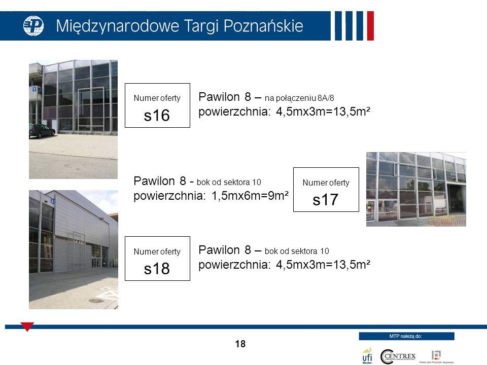 Pawilon 8 – na połączeniu 8A/8 powierzchnia: 4,5mx3m=13,5m²