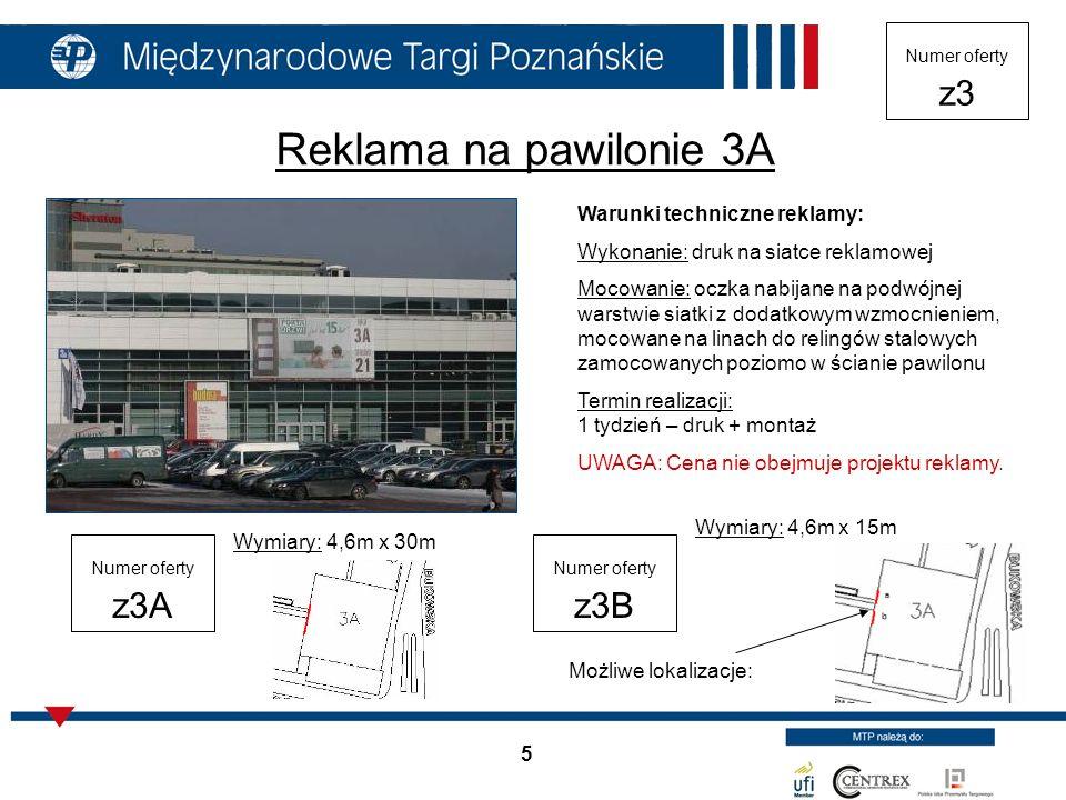 Reklama na pawilonie 3A Warunki techniczne reklamy: