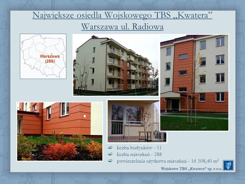 """Największe osiedla Wojskowego TBS """"Kwatera Warszawa ul. Radiowa"""