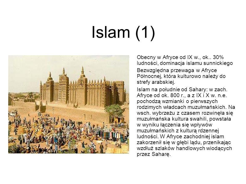 Islam (1)Obecny w Afryce od IX w., ok.. 30% ludności, dominacja islamu sunnickiego.