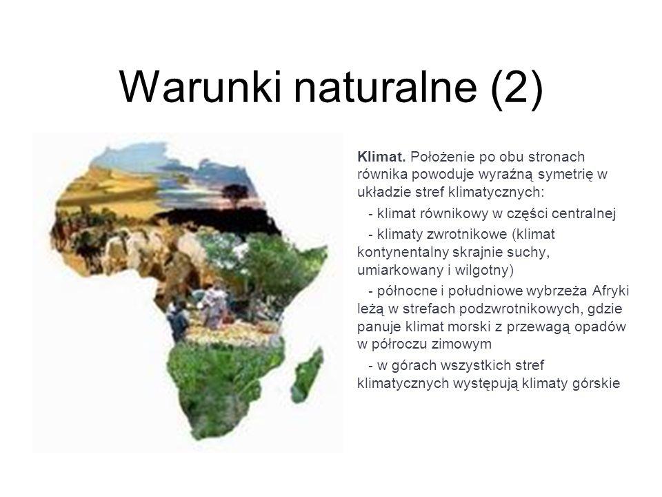 Warunki naturalne (2) Klimat. Położenie po obu stronach równika powoduje wyraźną symetrię w układzie stref klimatycznych: