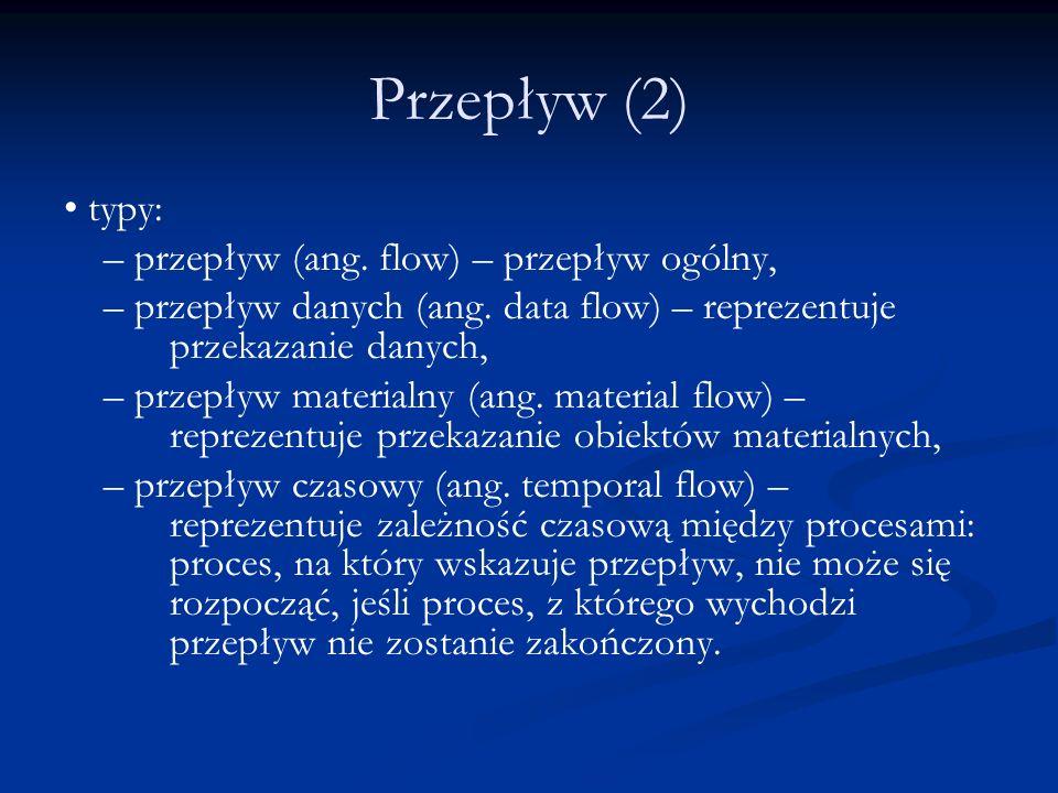 Przepływ (2) • typy: – przepływ (ang. flow) – przepływ ogólny,
