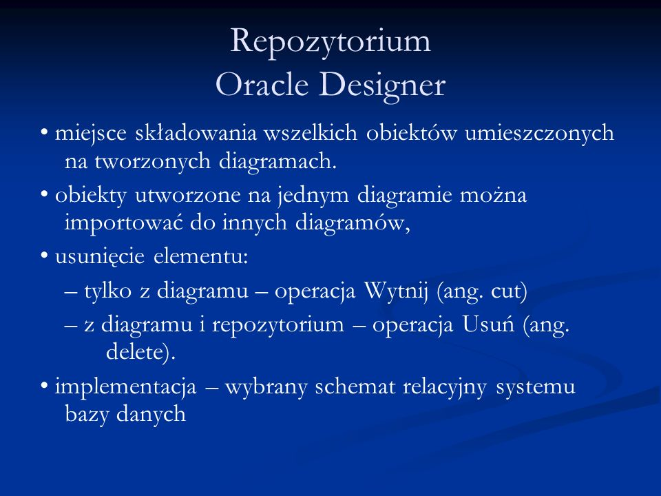 Repozytorium Oracle Designer