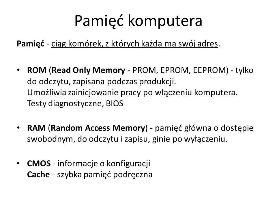 Pamięć komputera Pamięć - ciąg komórek, z których każda ma swój adres.