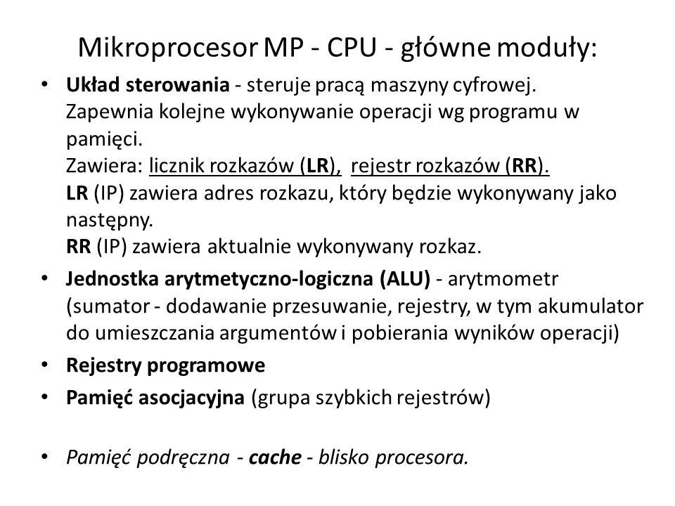 Mikroprocesor MP - CPU - główne moduły: