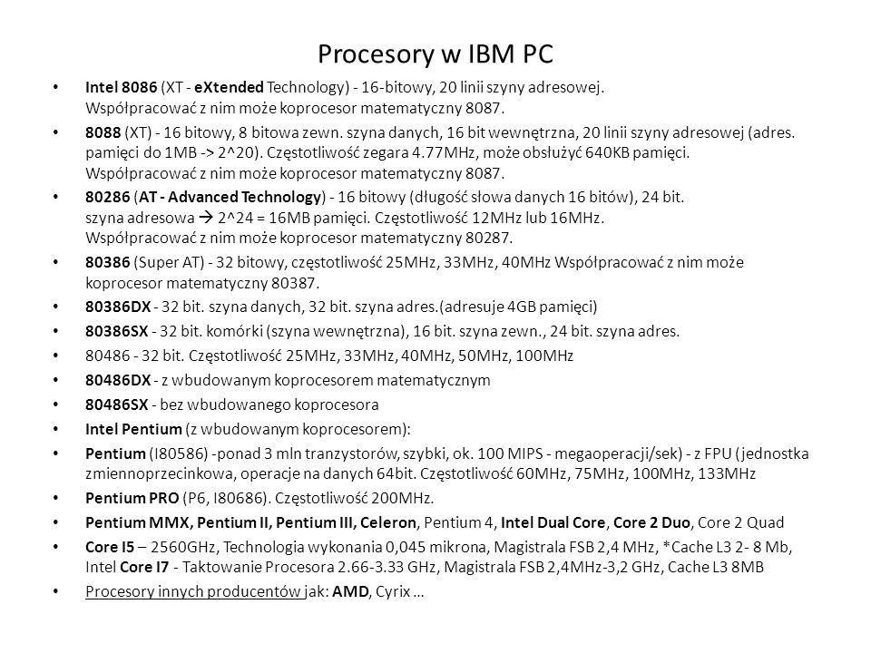 Procesory w IBM PC