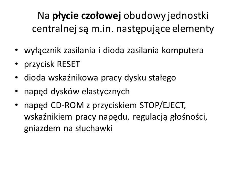 Na płycie czołowej obudowy jednostki centralnej są m. in