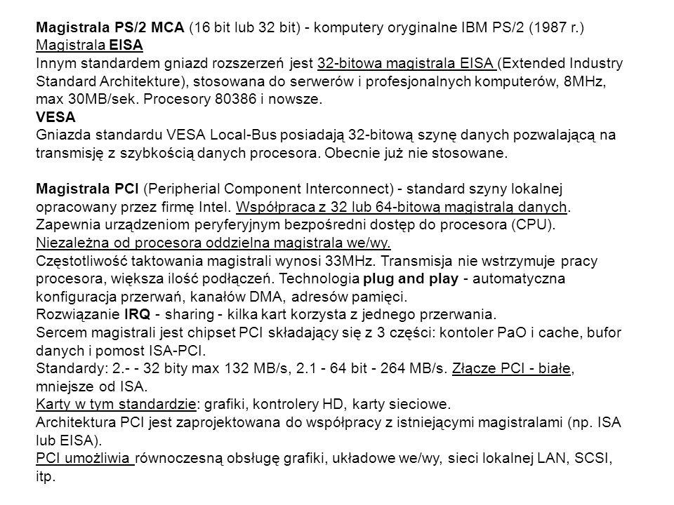 Magistrala PS/2 MCA (16 bit lub 32 bit) - komputery oryginalne IBM PS/2 (1987 r.)