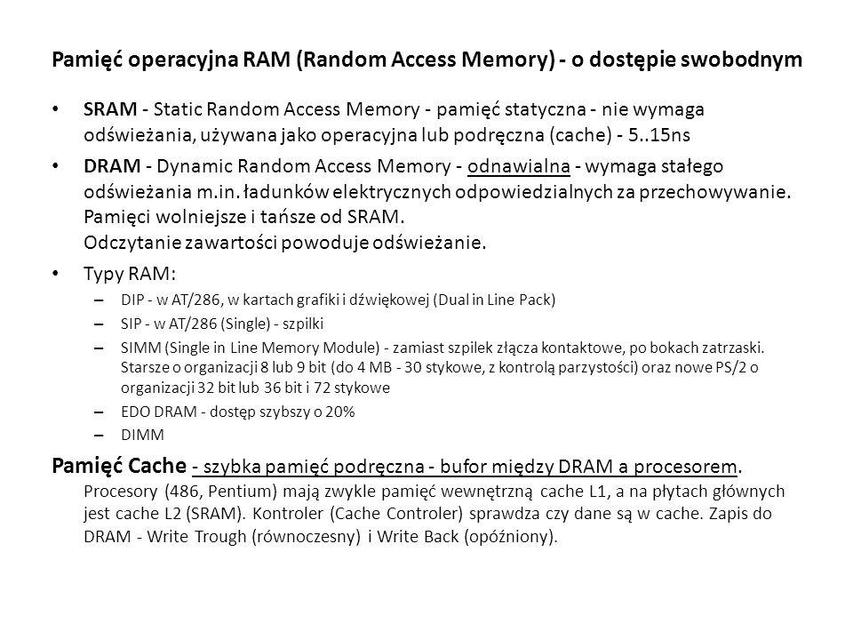 Pamięć operacyjna RAM (Random Access Memory) - o dostępie swobodnym