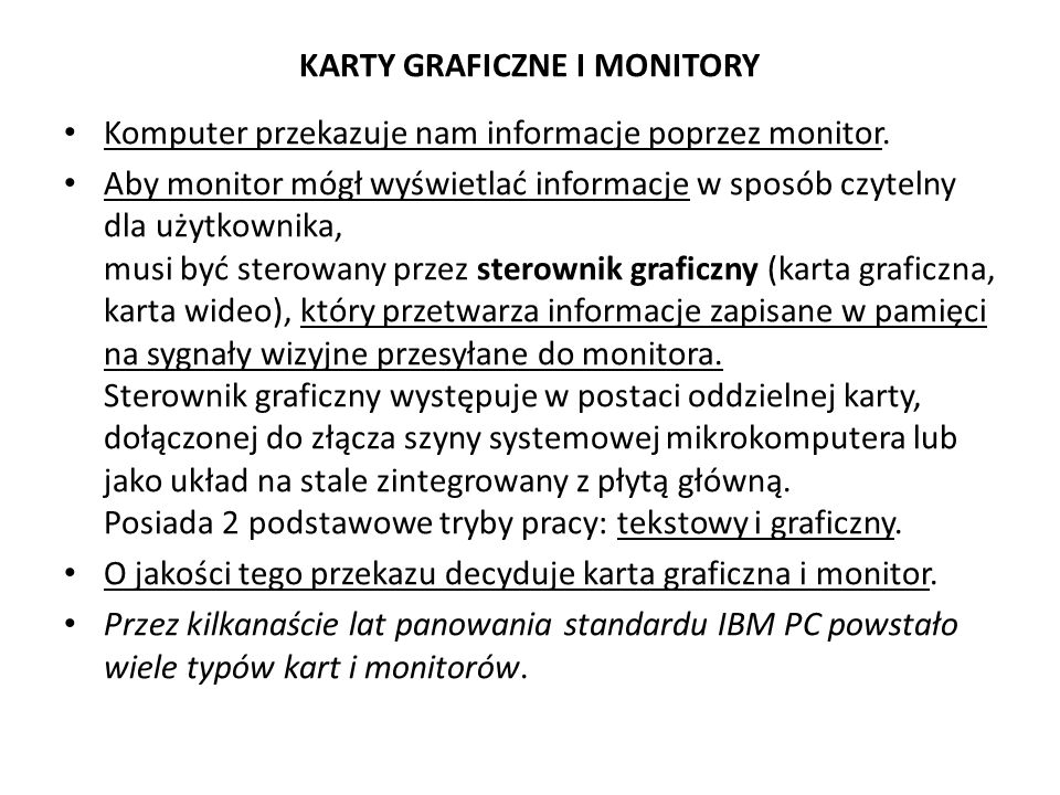 KARTY GRAFICZNE I MONITORY