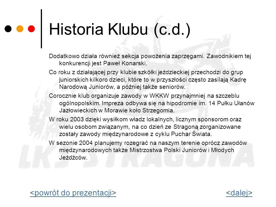 Historia Klubu (c.d.) <powrót do prezentacji> <dalej>