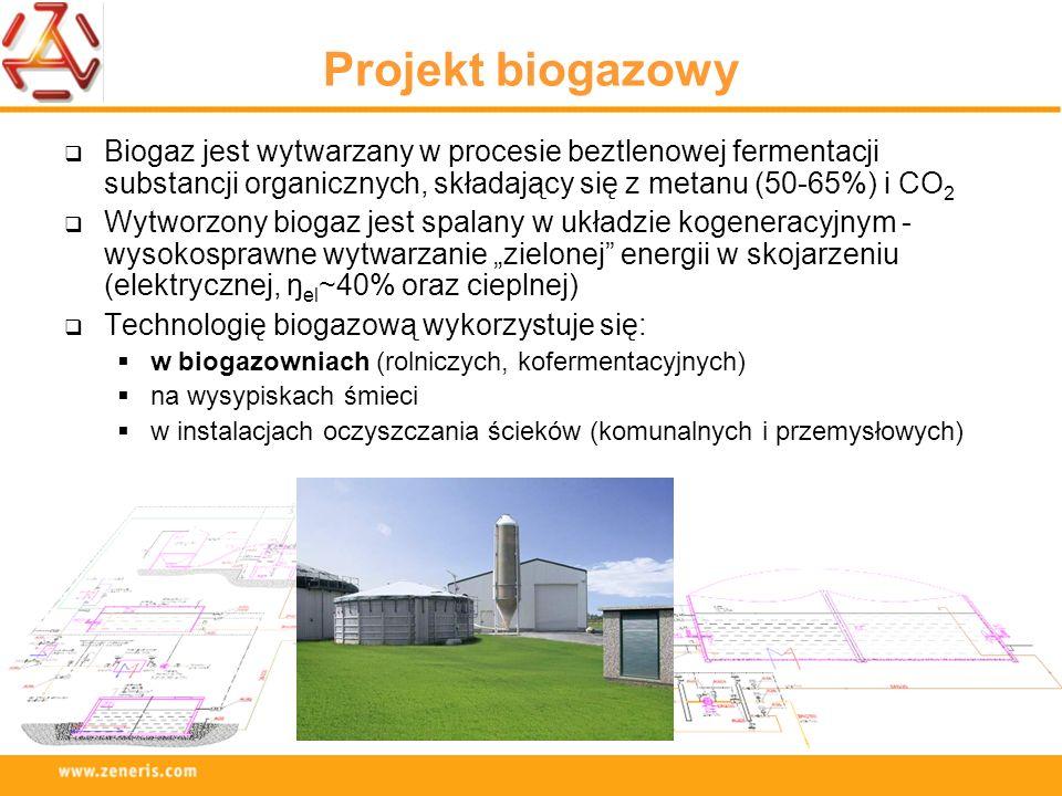 Projekt biogazowy Biogaz jest wytwarzany w procesie beztlenowej fermentacji substancji organicznych, składający się z metanu (50-65%) i CO2.