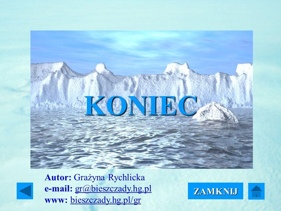 KONIEC Autor: Grażyna Rychlicka e-mail: gr@bieszczady.hg.pl www: bieszczady.hg.pl/gr ZAMKNIJ