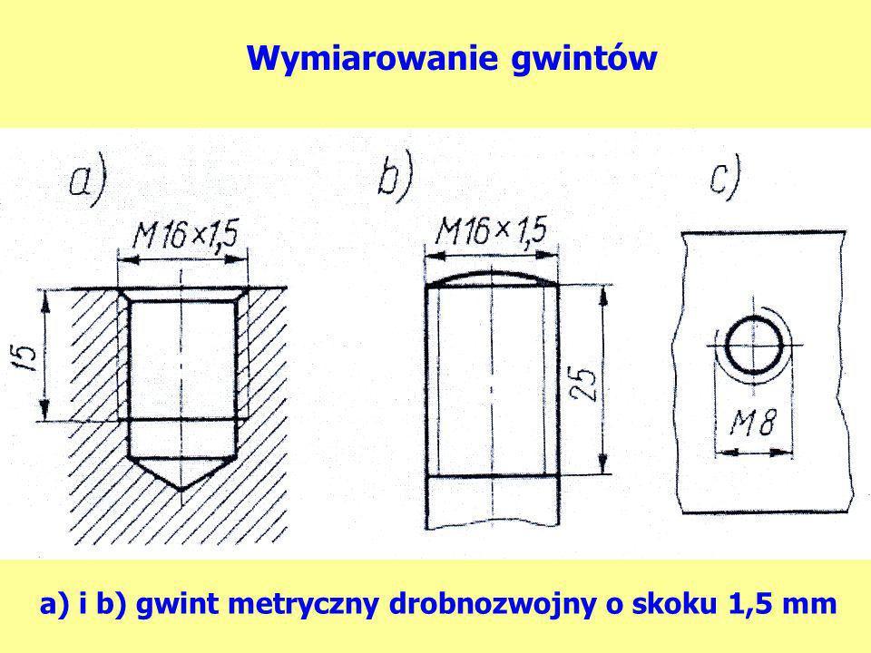 Wymiarowanie gwintów a) i b) gwint metryczny drobnozwojny o skoku 1,5 mm