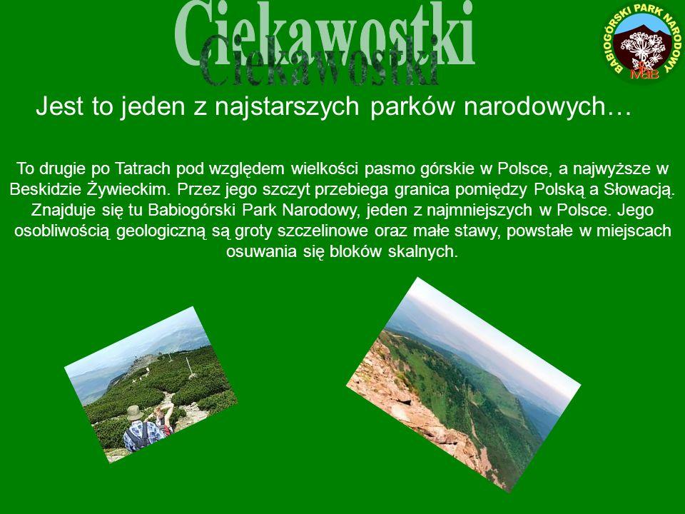 Ciekawostki Jest to jeden z najstarszych parków narodowych…